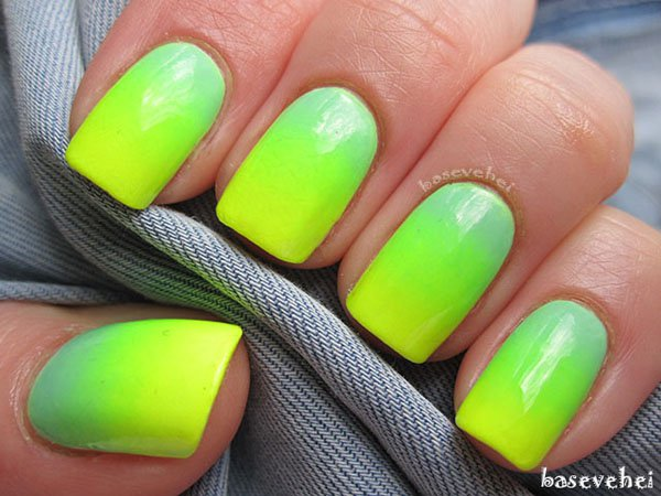 Bright Green Gradient Nail Design