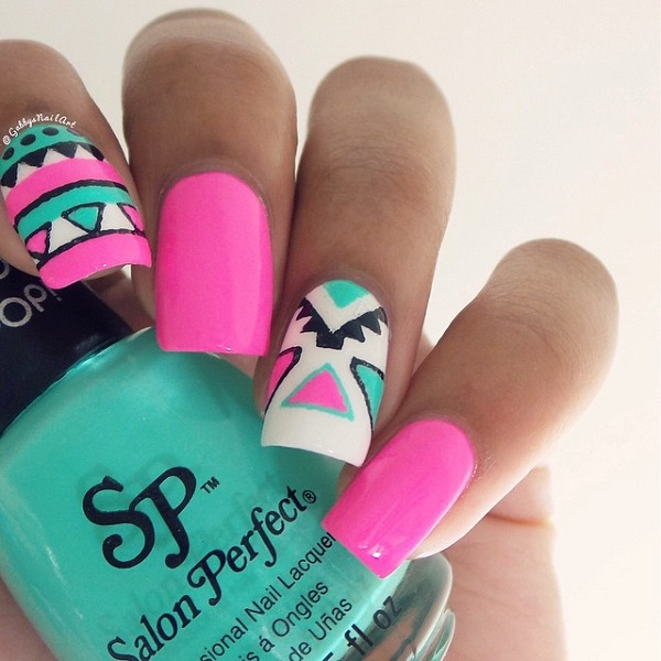 Bright Pink Tribal Nail Design - 25 Great Tribal Nail Designs For 2016 - Pretty Designs