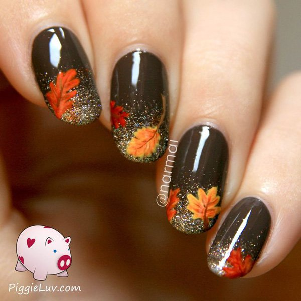 Bronze Fall Leaves Nail Design