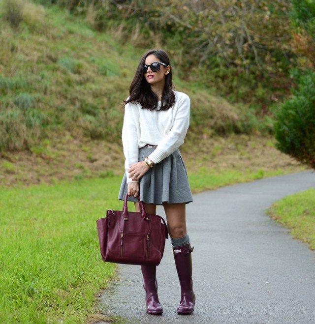 Burgundy Rainy Boots with Grey Skirt