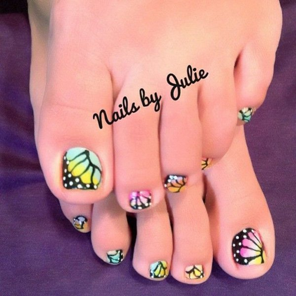 Butterfly Toenail Design