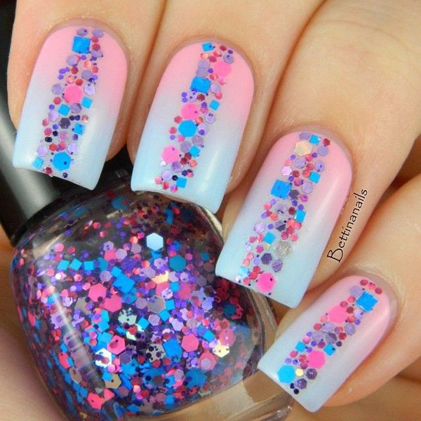 35 Amazing Glitter Nail Designs for 2019 Nails  Nail polish Nail care Nail art Nail Mani Nails Pink French Mani Glitter Nail Designs glitter fashion Culture Cosmetics Candy Colored Aesthetics