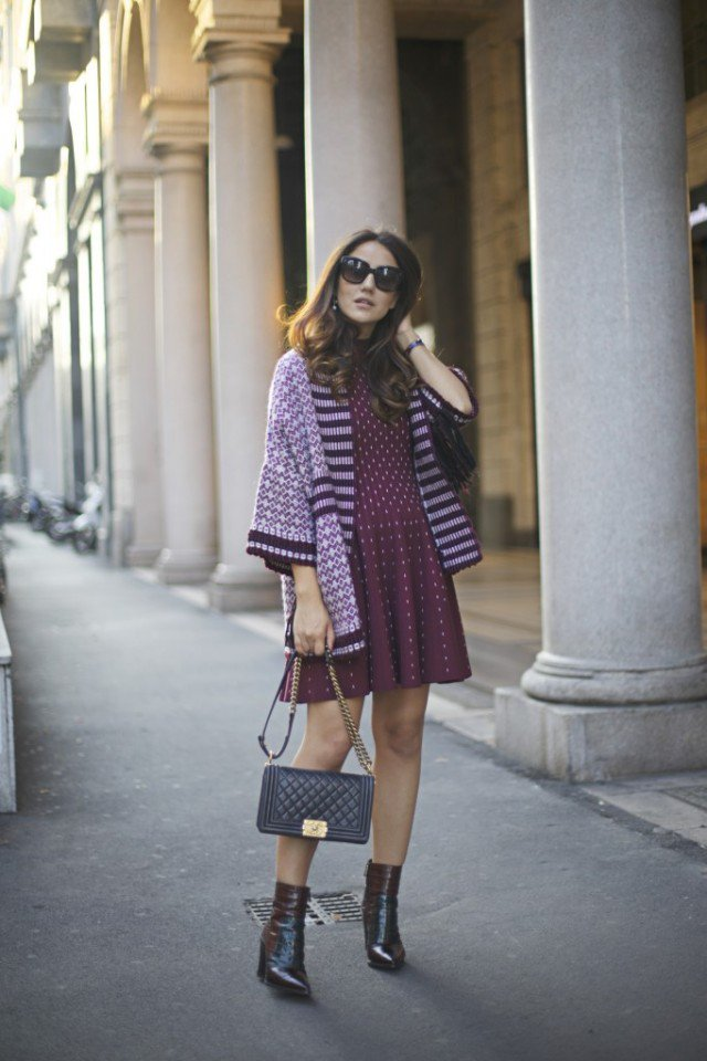 Cape Coat with Knit Dress