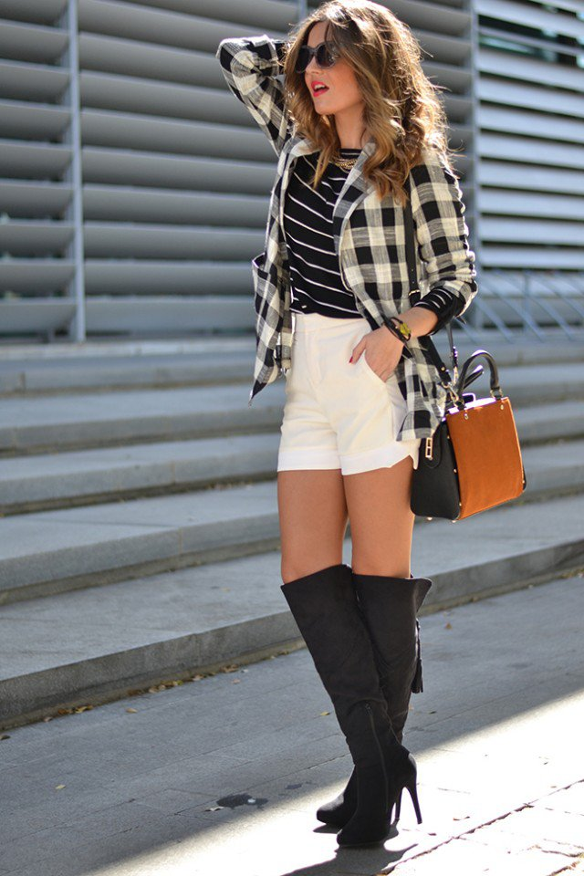 Checkered Shirt with Knee Length Boots