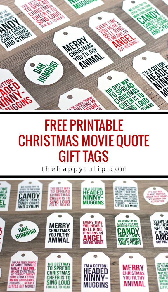 Christmas Movie Quote Gift Tags