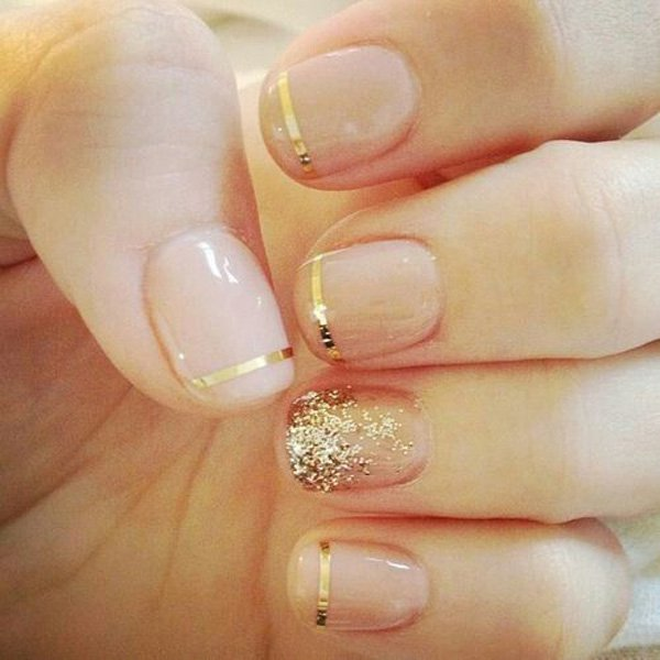 Clear and Gold Metallic Nail Design