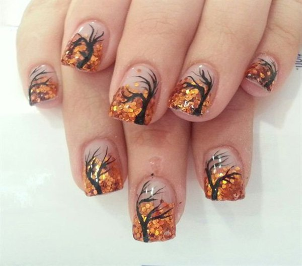 Clear and Gold Nail Design