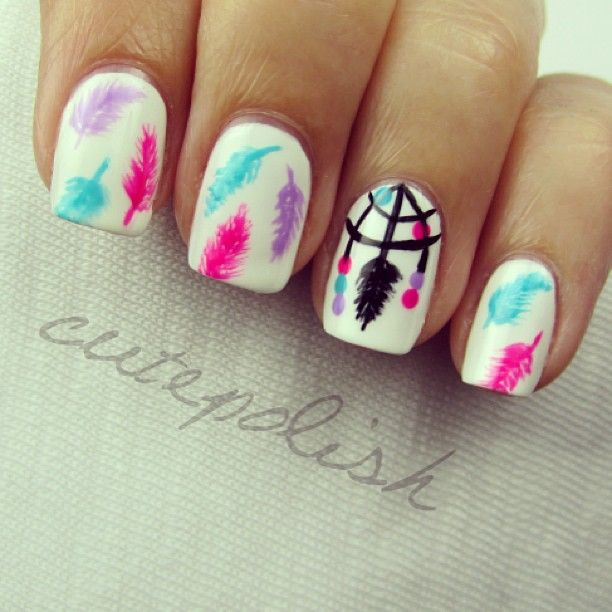 Colorful Feather Nails