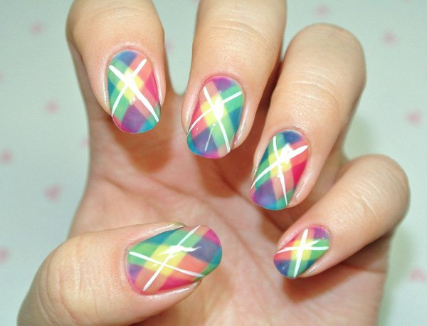 Colorful Gingham Nail Design