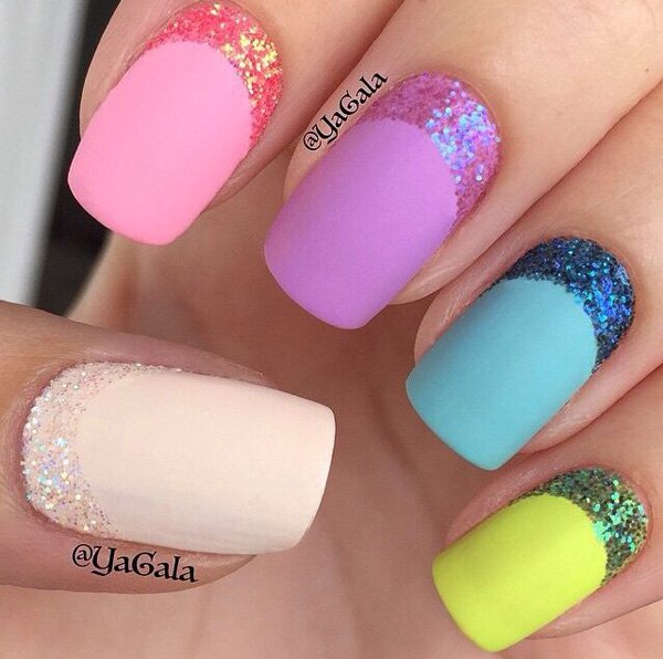 Colorful Glitter Nail Design