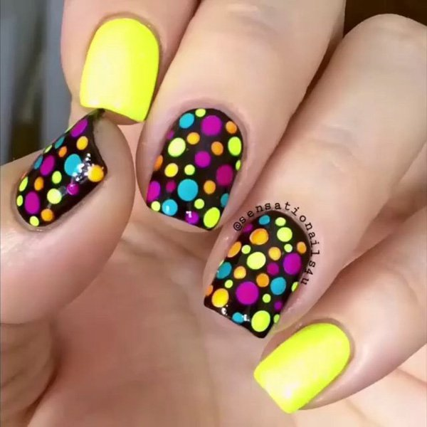 Colorful Polka Dot Nail Design