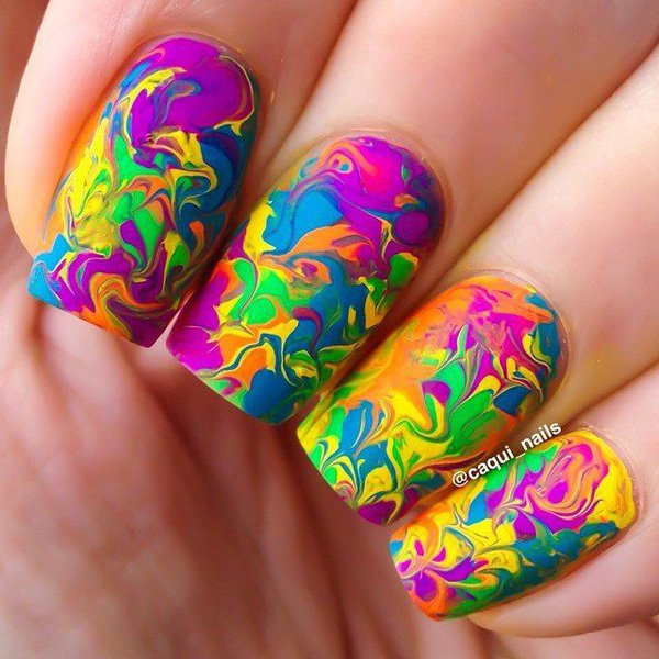 Colorful Water Marble Nail Design
