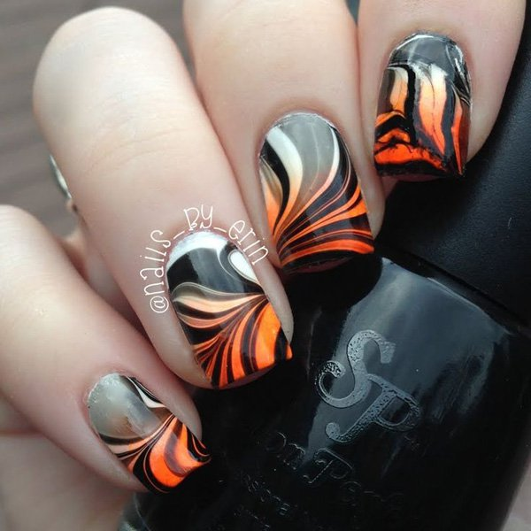 Cool Water Marble Nail Design