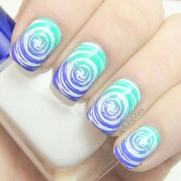 Creative Water Marble Nail Design