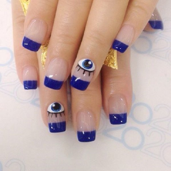 Cute Blue Eye Nail Design
