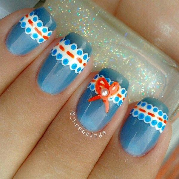 Cute Blue Lace Nail Design