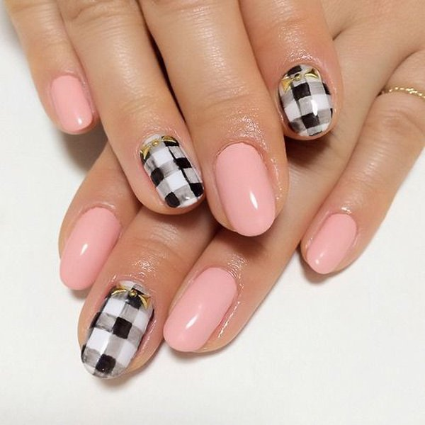 Cute Pink Plaid Nail Design