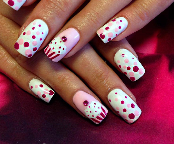 Cute Pink Polka Dot Nail Design