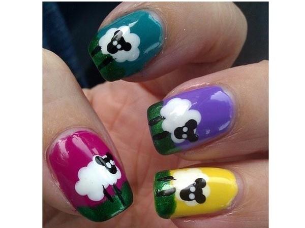 Cute Sheep Nail Design