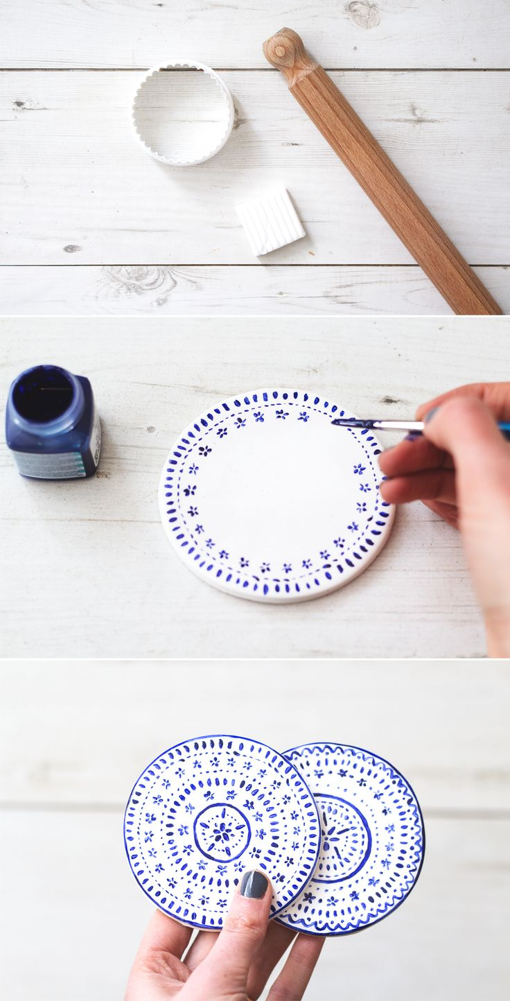 15 diy projects to have coasters pretty designs for How to make ceramic painting