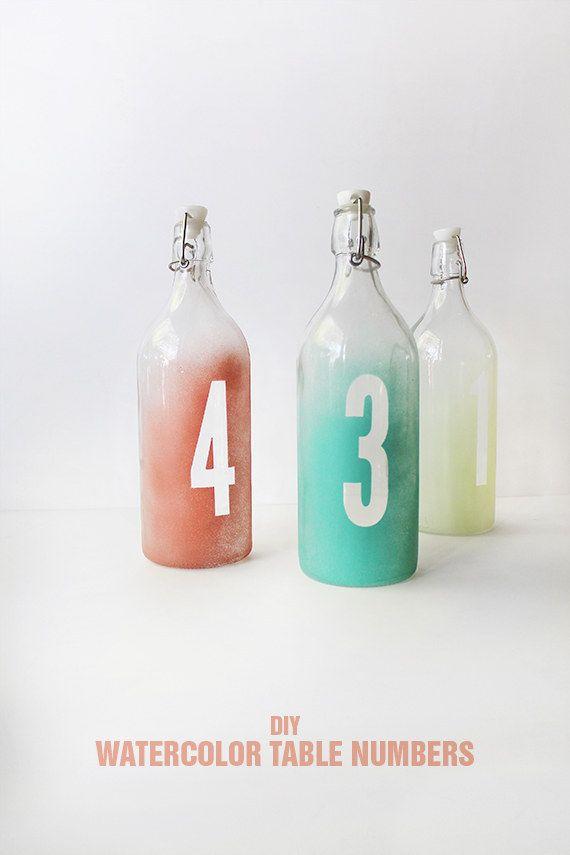 DIY Watercolor Table Number