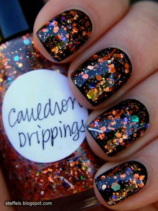 Dark Nails with Glitter