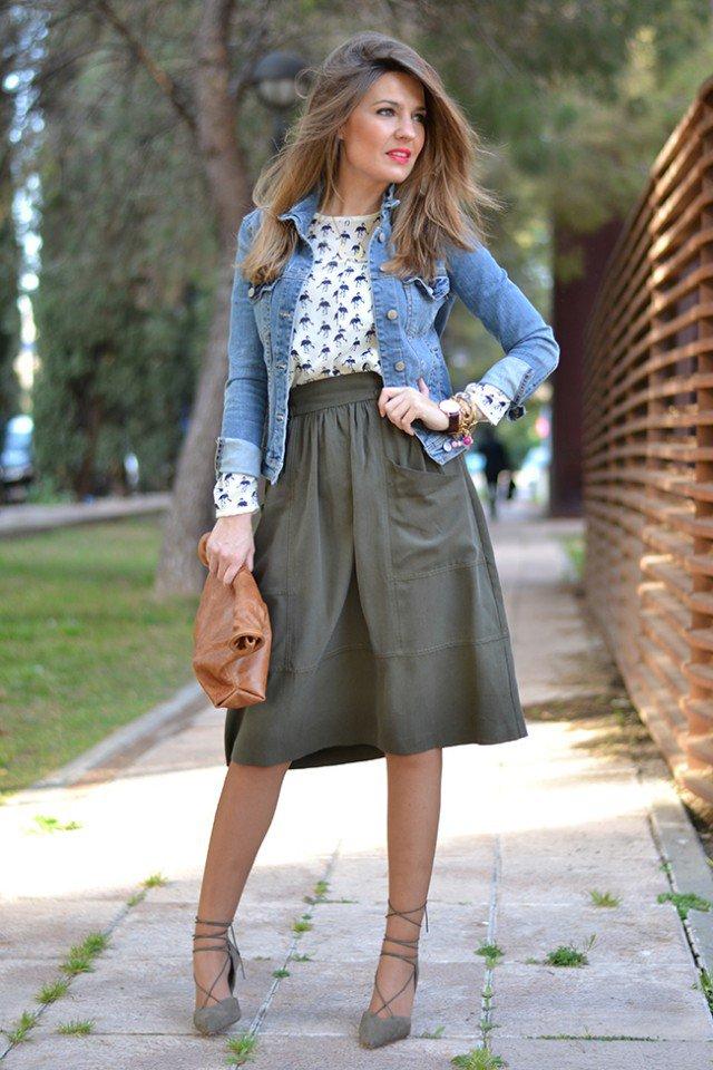 Denim Jacket with Midi Skirt