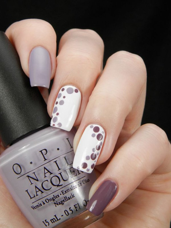 Dotted Olive Nail Design