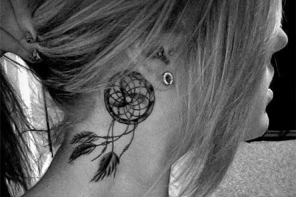 Dream Catcher Tattoo Design Behind the Ear