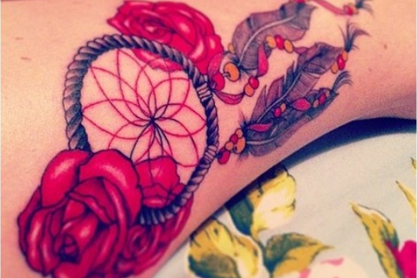 Dream Catcher Tattoo Design with Roses