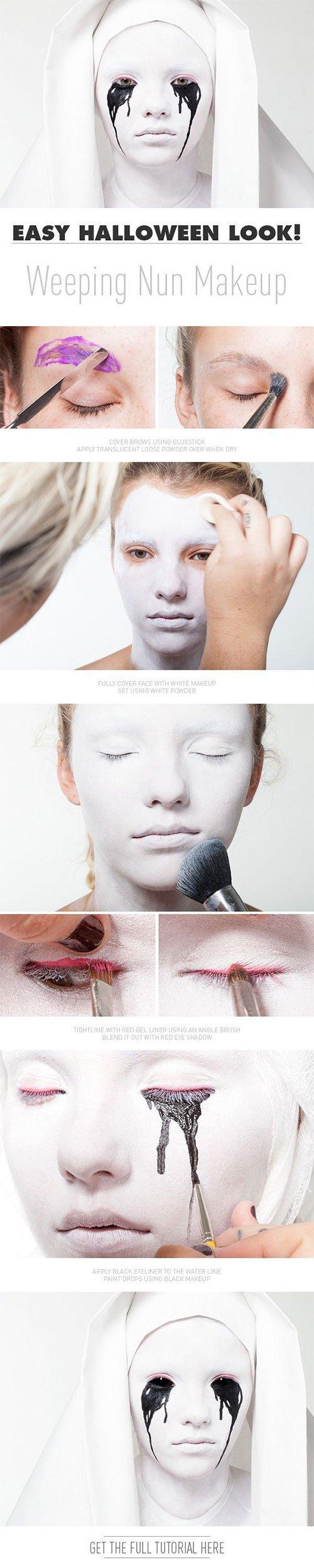 Easy Halloween Weeping Nun Makeup Tutorial