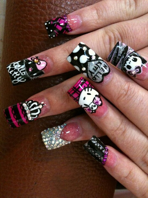 Embellished Hello Kitty Nail Design
