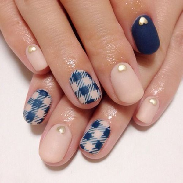 Embellished Plaid Nail Design