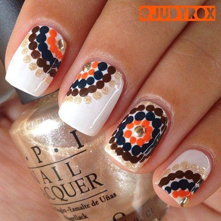 Fall Nails with Dots