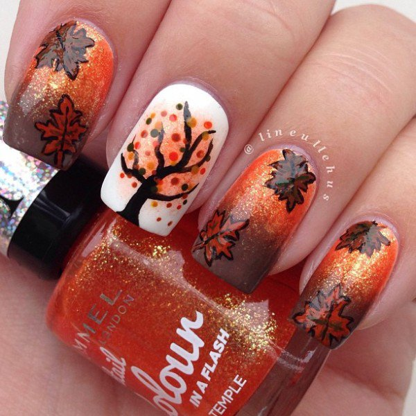 Fall Themed Nail Design - 35 Beautiful Nail Designs For Fall - Pretty Designs