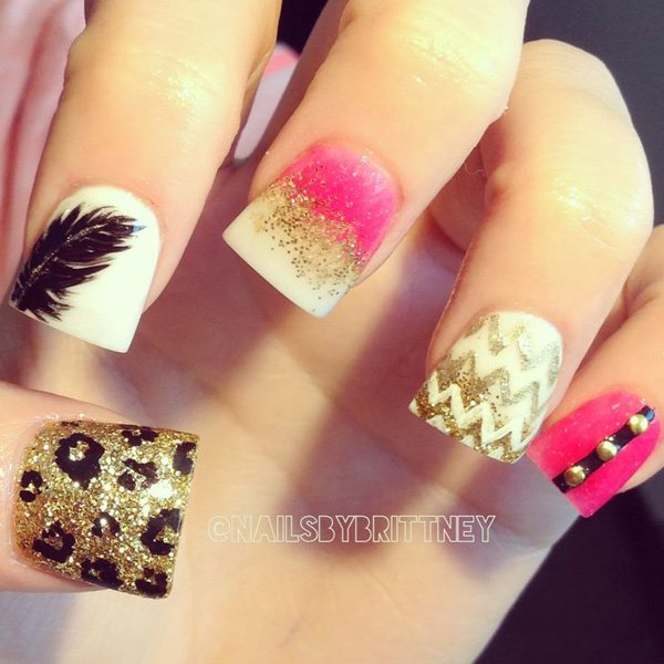 Feather Nail Design for Short Nails