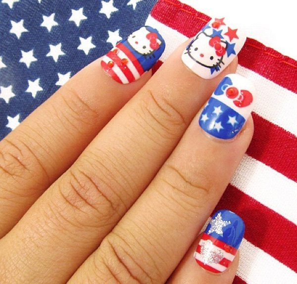 Flag Inspired Hello Kitty Nail Design