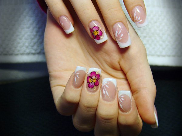 Floral French Manicure Idea
