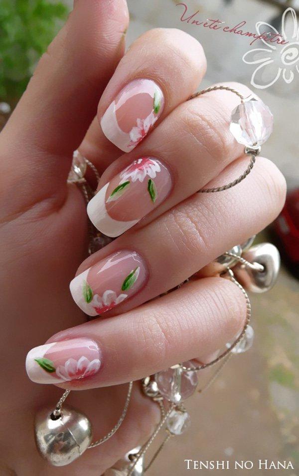 Flower French Manicure Idea