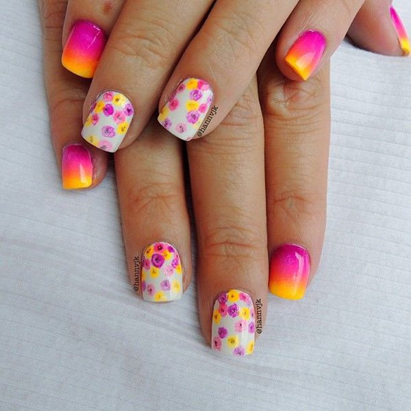 Flower Gradient Nail Design
