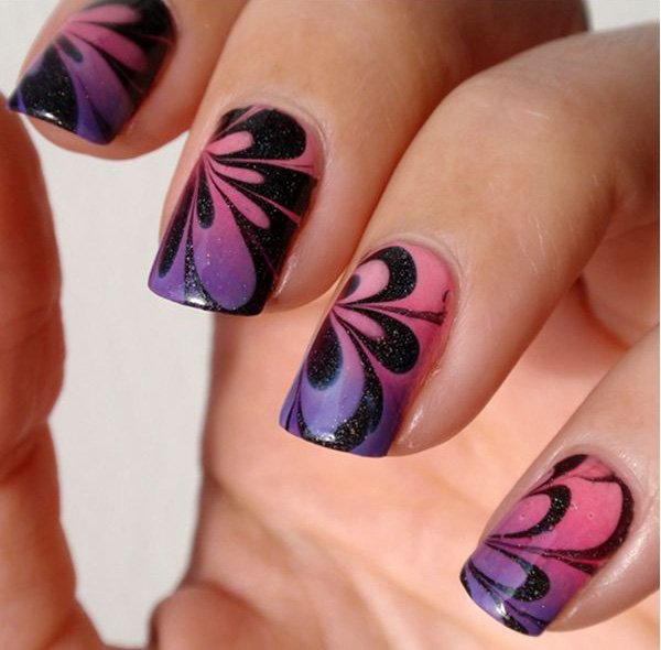 Flower Water Marble Nail Design