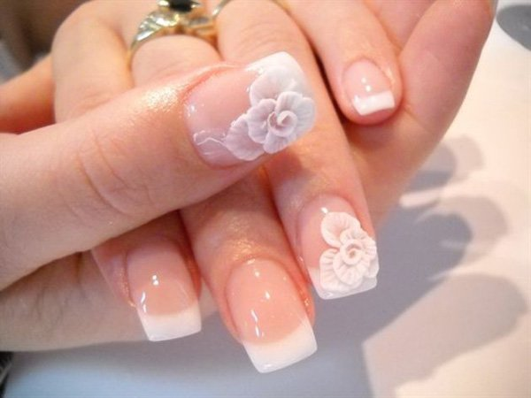 French Manicure Idea for Wedding