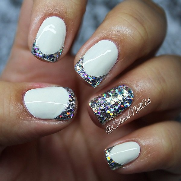 Light Blue Acrylic Nails With Rhinestones