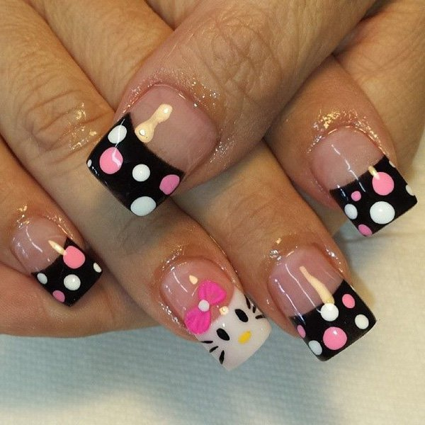French Tip Hello Kitty Nail Design
