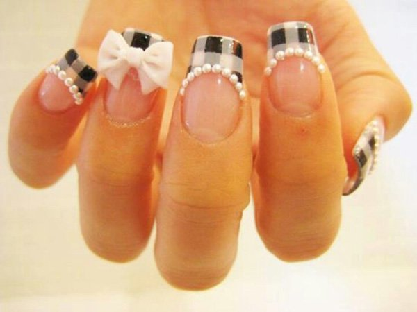 French Tip Plaid Nail Design