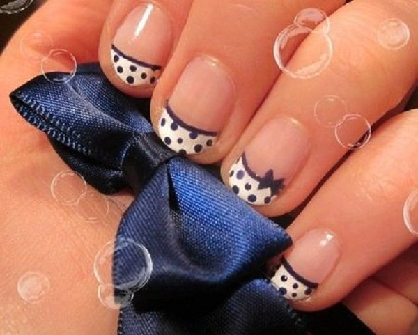 French Tip Polka Dot Nail Design