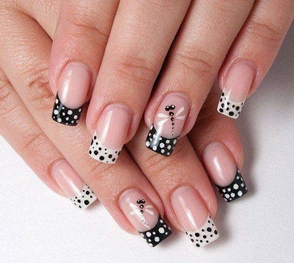 French Tip Polka Dot Nail Design for Wedding