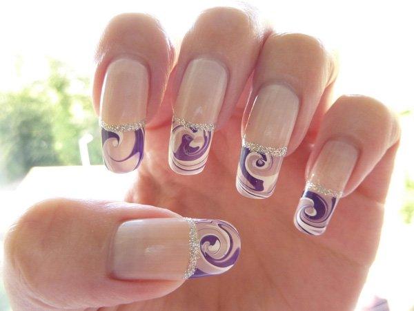French Tip Water Marble Nail Design