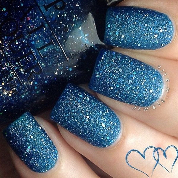 Full Blue Glitter Nail Design