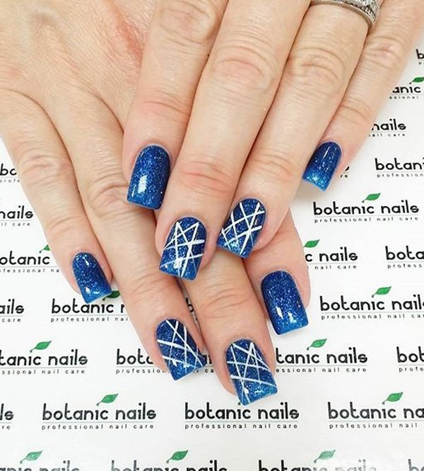 29 adorable blue nail designs for 2018 pretty designs galaxy inspired blue nail design prinsesfo Image collections